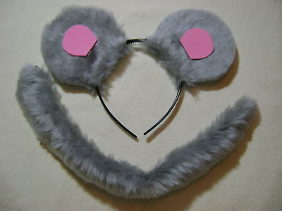 Mouse Ears And Tail Set Light Grey/Pink Fancy Dress One Size Unisex Set NEW