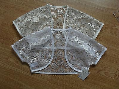 FLOWER GIRL/BRIDESMAID LACE SHRUG/BOLERO/JACKET AGE 2-12 white or ivory uk made