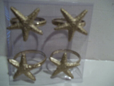 NIP KEMP & BEATLEY SET OF 4 GOLD STARFISH NAPKIN RINGS TROPICAL BEACH OCEAN SEA