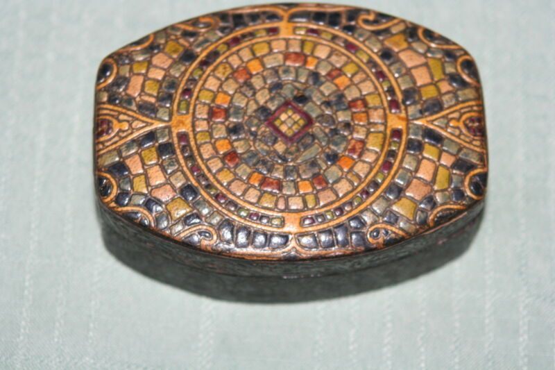 Antique Victorian Sewing Needle MOSAIC Box~PUNCHED LEATHER?