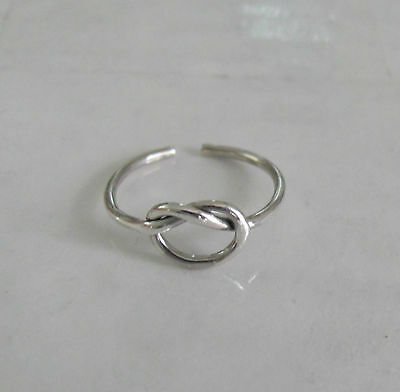 Sterling Silver Dainty thin love knot adjustable toe ring fits medium - large.