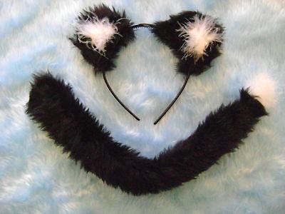 Black & White Cat/Dog/Lion Ears & Tail Set - Black Cat Dog Kostüm
