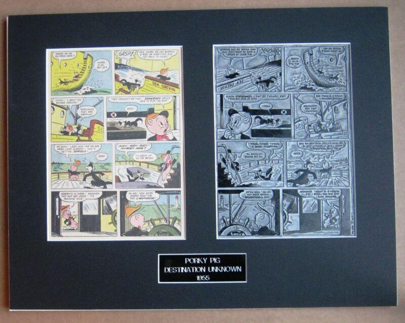 Porky Pig Vintage 1955 Printing Plate - Framed & Matted !