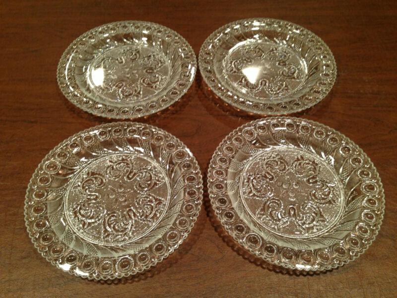 "Gorgeous Elegant Set of 4 DETAILED 8"" GLASS PLATES Acorn Burr & Scroll Design"
