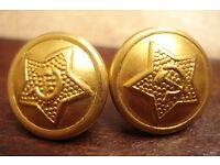 Hungary Hungarian Army Button Replacement Bronze Lot 2 Pair 1.6cm Kadar era
