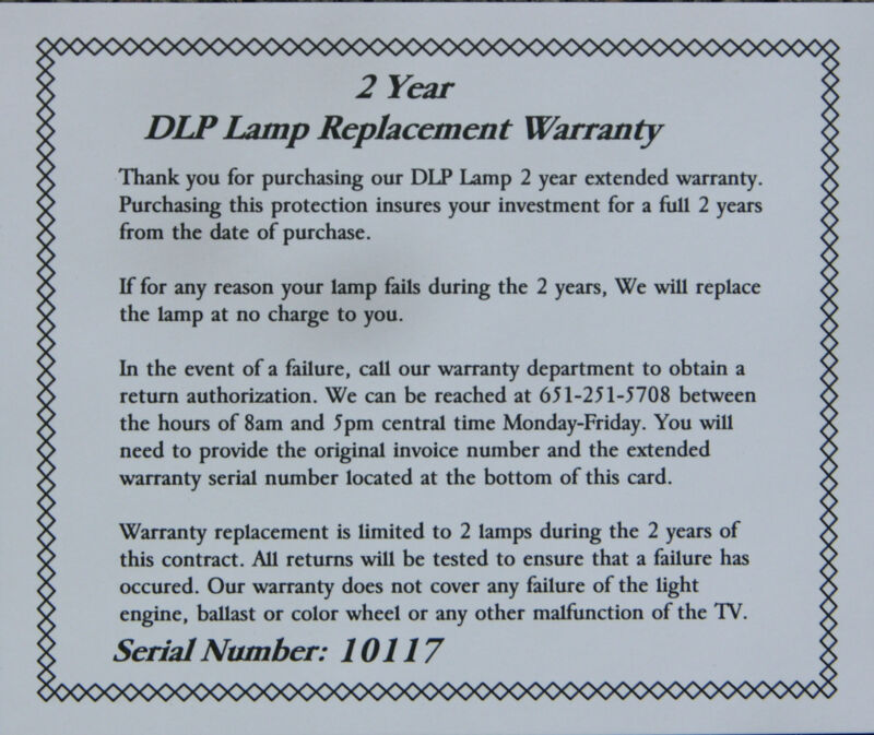 DLP2, 2 Year Extended Warranty for Lamps/Bulbs Purchased at nesselectronics