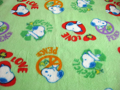 Snoopy Fleece Fabric (Fleece - Snoopy Peanuts Green Peace Love Recycle Fleece Fabric 1 Yard 15)