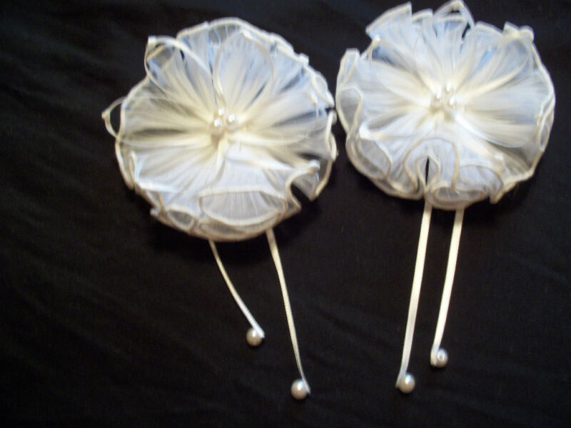 "VINTAGE BRIDAL / EVENING / FORMAL SHOE CLIPS WHITE 3.5"" INCH ROUND LOVELY  LQQK"