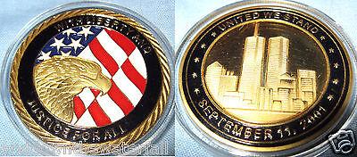 9/11 Eagle Gold Coin Memorial Stars & Stripe Trump Al-Qaeda Taliban Isis Suicide
