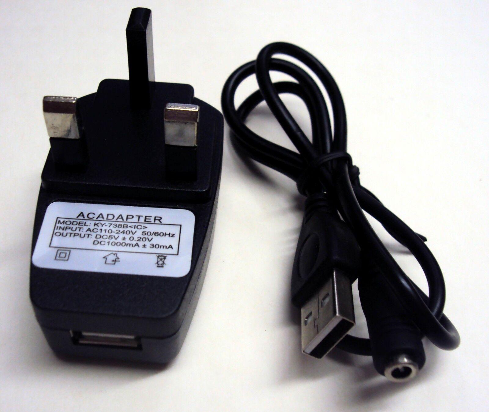 DC 3.5mm Female Jack to USB Socket Power Plug Connector Cable + UK Wall Plug