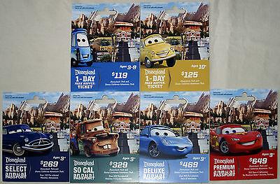6 Different DISNEYLAND Passport Disney & Pixar's CARS LAND Gift Cards 2012-2013
