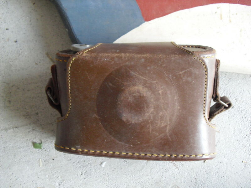 Vintage Leather Army Service Camera Case with Strap