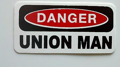 3 - Danger Union Man Lunch Box Hard Hat Oil Field Tool Box Helmet Sticker