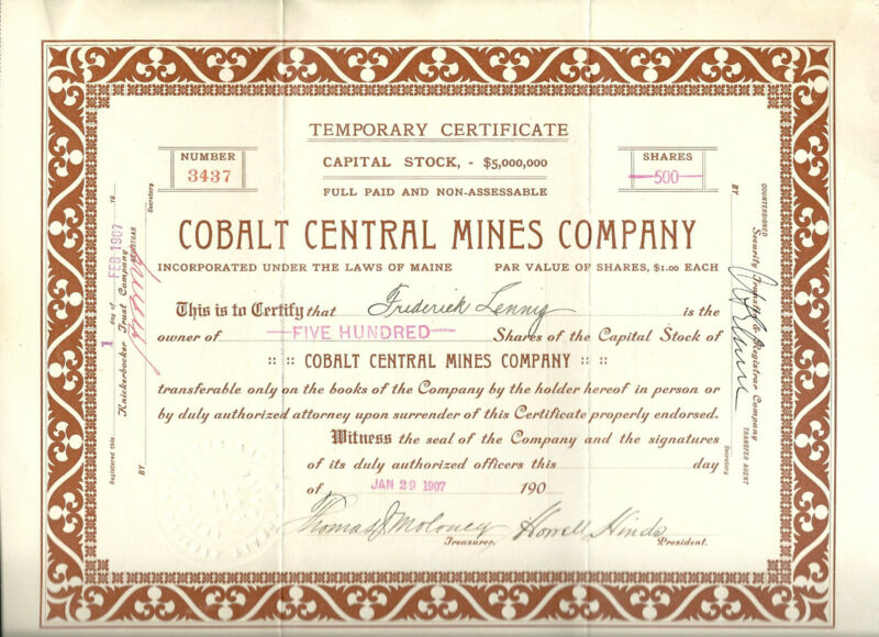 CANADA, Cobalt Central Mines Company 1907 Temporary Stock Certificate, Maine