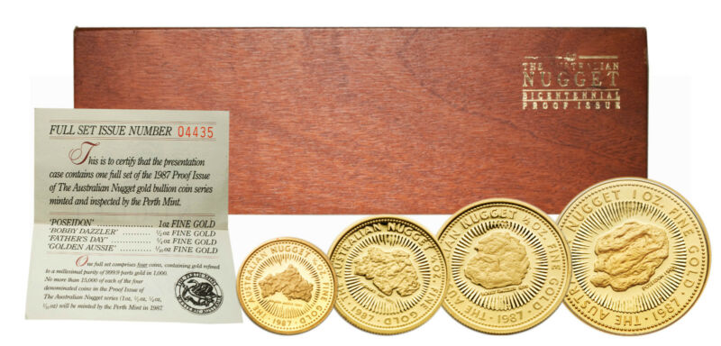 Australia 1987 Nugget 4-Coin Gold Proof Set