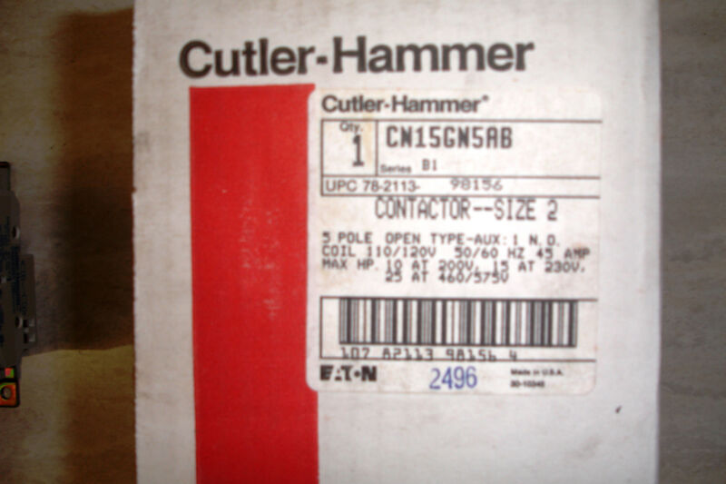 Cutler Hammer CN15GN5AB 5 Pole Contactor Size 2 45 amp 120v coil Ships Today