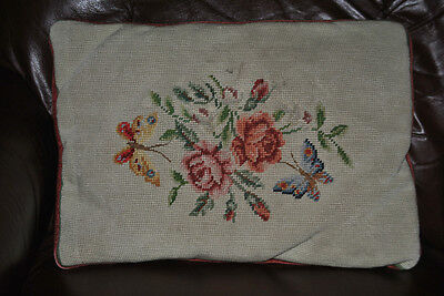 Vintage NEEDLEPOINT ROSES FLORAL PILLOW COTTAGE VICTORIAN tapestry DECOR