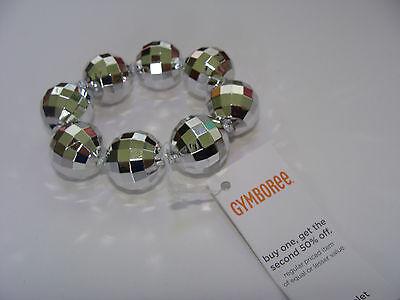 Gymboree Fall for Autumn Girls Bead Bracelet Metallic Silver Disco Ball NEW - Disco Balls For Kids