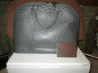 Louis Vuitton Authentic Alma GM Ostrich Grey Handbag