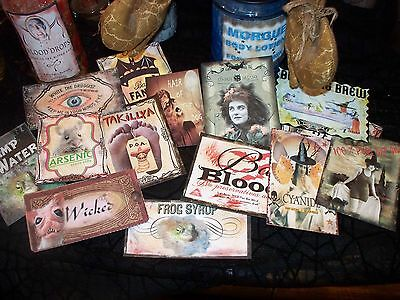 15 Halloween Witch Potion Bottle Labels - Peel-n-Stick Stickers (set THREE)Scary