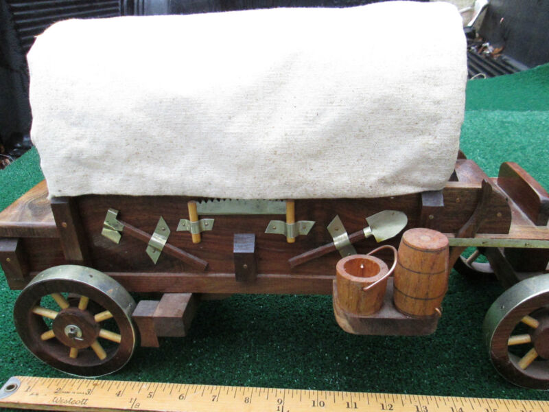 Collectible Art Handcrafted Covered Wagon Western Lighted Art Meticulous Work