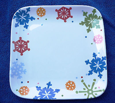 Snowflake holiday plate platter hand painted square serving Christmas Ironstone - Snowflake Plate