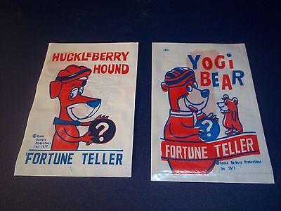 Lot of 2 1977 Huckleberry Hound & Yogi Bear Hanna Barbera Fortune Teller Bags