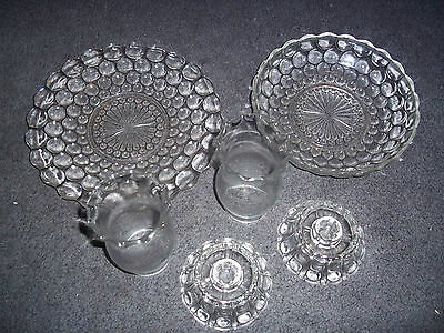 RARE ANTIQUE GLASS CRYSTAL HURRICANE CANDLE HOLDER LAMPS 6 PIECE SET