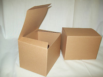Lot Of 25 6x4.5x4.5 Gift Retail Shipping Packaging Boxes Kraft Light Cardboard