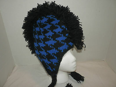 Black And Blue Houndstooth Mohawk Peruvian Beanie From  Hot Topic
