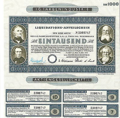 I.G.FarbenIndustrie AG , Liquidation 1000 RM Old Stock