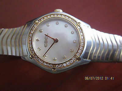 Ebel Classic Bracelets (Ebel Classic Ladies Stainless Steel & Gold Bracelet Watch-Mother Of Pearl Dial )