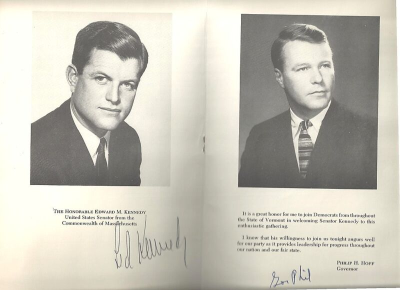 Ted Kennedy Autograph - 1964 Vermont Democratic Party Menu - Gov Phil Hoff Also