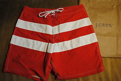 "J Crew 9"" Board Short Swim ORIGINAL LONGBOARD in Social Stripe Sz 38 Red $69.50"