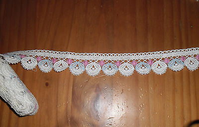 OLD LACE white color Pink Sky blue 196 cm x 4 cm early XX