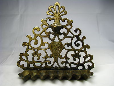 SOLID BRASS HANUKAH MENORAH OIL HANUKKAH LAMP North Africa Morocco c1900 Judaica