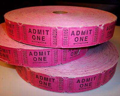 "Roll of Pink Single ""Admit One"" Tickets  2,000 ct."