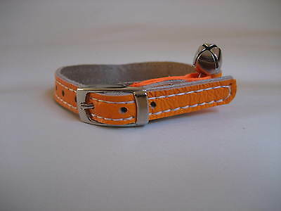 LEATHER ORANGE FLURO CAT COLLAR