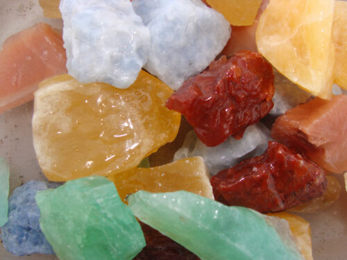 Natural Color Calcite - 1000 Carats - Rocks  - Gems Orange Red Green Blue Yellow