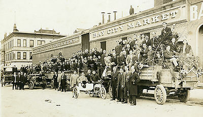 1913 SAN DIEGO CA GASLAMP CATTLE DEALER THOR ANTIQUE MOTORCYCLE SIDECAR PHOTO