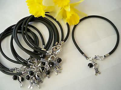 1 Dz Melanoma Skin Cancer Awareness  Bracelets Black Hope Ribbon Charm