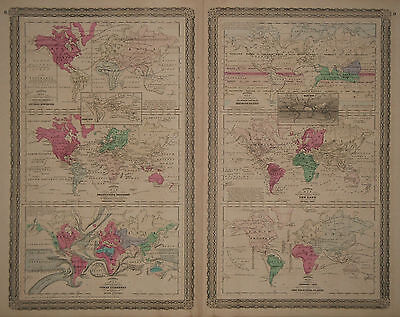 1870 Genuine Antique Physical maps of Flora, Fauna & Weather of World. Johnson