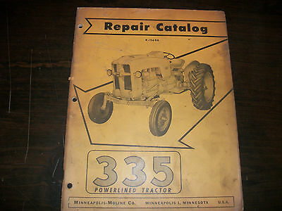 Original Minneapolis-moline 335 Powerlined Tractor Repair Parts Catalog Manual
