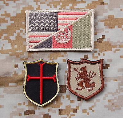 DEVGRU SEAL Team 6 NSWDG US Afghan Flag Crusader Lion Patch Set Zero Dark Thirty