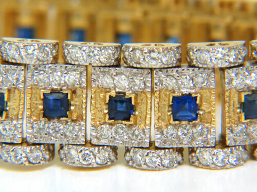 10.00ct Natural Sapphire Diamond Bracelet Edwardian Revival Deco 14kt+