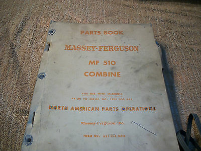 Original Massey-ferguson Mf 510 Combine Parts Book Manual