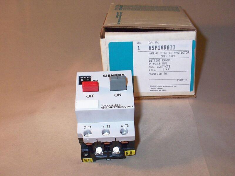 SIEMENS MSP10RA11 Motor Starter Protector 14-18A (New)