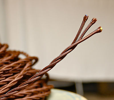 Brown Twisted 3-Wire Cloth Covered Cord, 18ga. Vintage Lamp Antique Lights Rayon