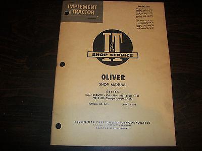 Original Oliver Super 99gmtc 950 990 995 Tractor I T Shop Service Manual