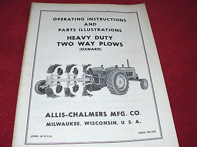Allis Chalmers Heavy Duty Two Way Plows Operators Parts Book